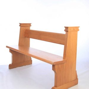 Traditional bench pew front view bespoke side engravings durable