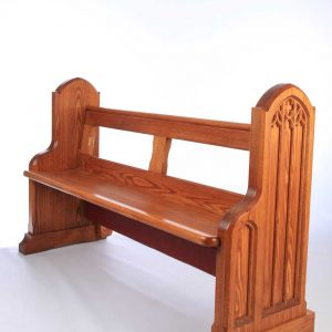 Traditional bench pew front view bespoke side engravings durable kneeler