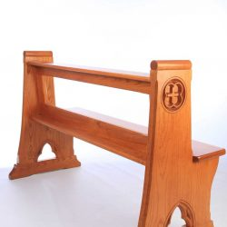 Modern Bench Pew all wooden engravings bespoke design rear view