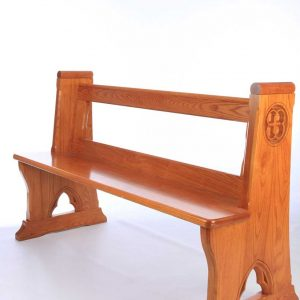 Modern Bench Pew all wooden engravings bespoke design front view