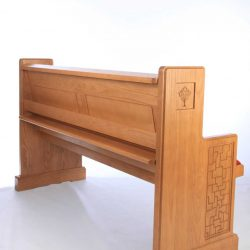Modern Bench Pew red upholstered engravings detailed rear view