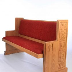 Modern Bench Pew red upholstered engravings detailed sides front view