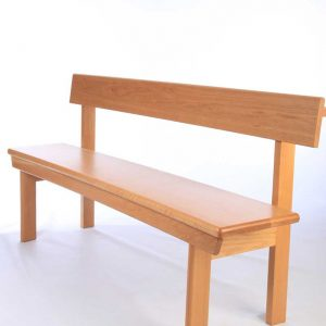Modular seating non-stacking front view all wooden bench bespoke design