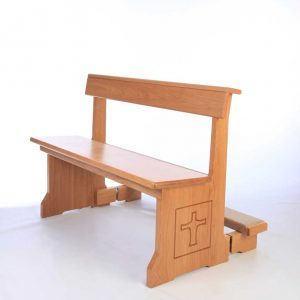 Modern Bench Pew all wooden engravings bespoke design kneeler front view