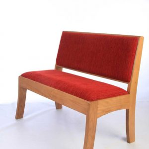Modular seating non-stacking red upholstered seat and back Harrogate front