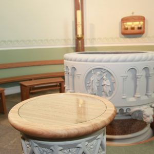 Sligo Cathedral Baptistery baptismal font engravings curved bespoke marble formes