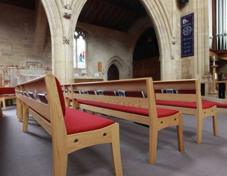 St Mark s Church Harrogate red upholstered benches. Innovative Church Furniture Design   ICS Church Furnishers