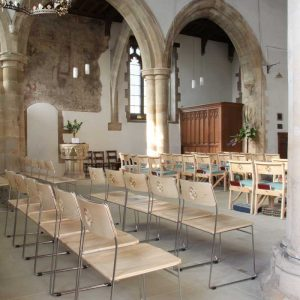 Side view of metal frame chairs at St Mary's Kirtlington