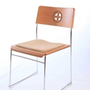 Metal Frame Chair white backdrop beige upholstered stacking bespoke engraving cut out