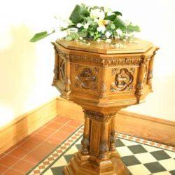 Baptismal font with unique bespoke engravings craft craftsmanship design details
