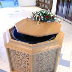 Baptismal Font engravings and lid designed bespoke church slose