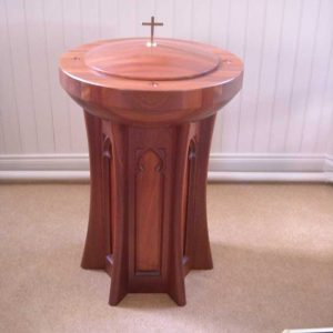Baptismal font all wooden with engraving designs and unique lid