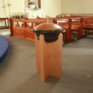 baptismal font wooden stand stone font and wooden lit bespoke church