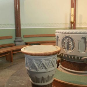 Baptismal Font Sligo Cathedral Baptistry bespoke wooden stone marble