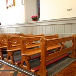 Restoration pews bespoke kneelers wooden church stations of the cross