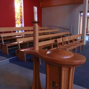 Baptismal Font Bespoke candle stand built in