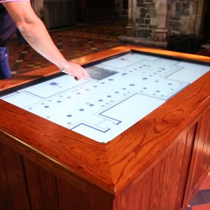 Learning center furniture interactive screen educational St Patrick's Cathedral large electronic screen