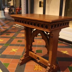 St Patrick's Cathedral table bespoke engravings unique design durable church furniture