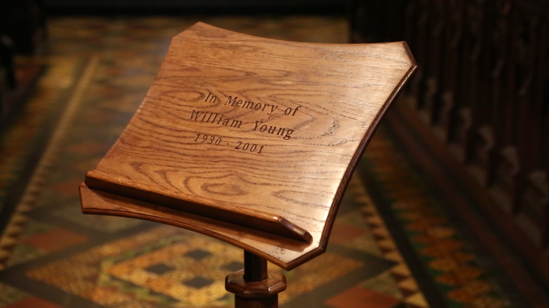 St Patrick's Cathedral memorial wooden lectern engravings bespoke unique design