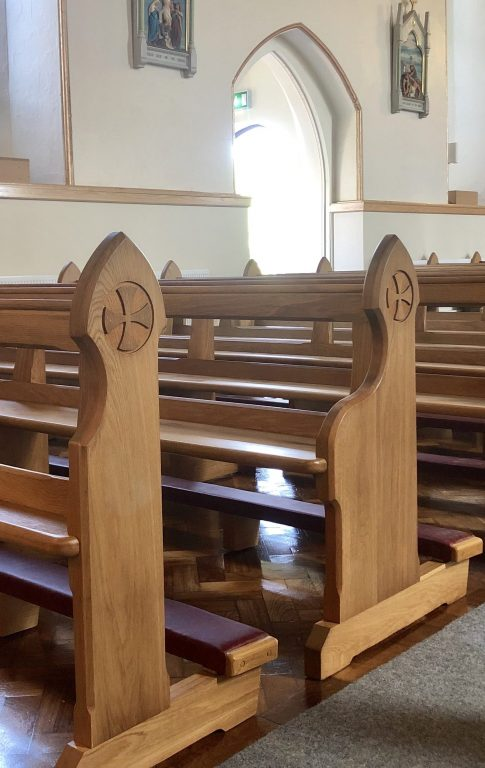 After full Pew Restoration and Kneeler Reconiditioning by ICS